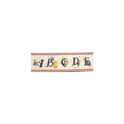 Classic Pooh Alphabet Wall Border, NEW, 5 Yd Roll, Pre-pasted, By Sunworthy