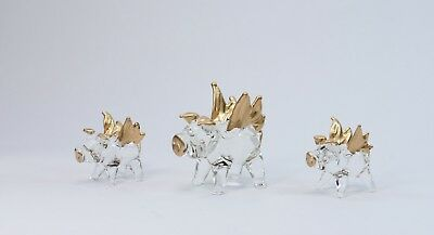 3 Set of Flying Pigs Gold Figurine of Blown Glass Crystal