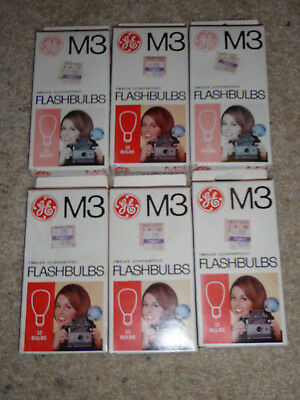 6 Boxes of 12 GE M3 Flashbulbs