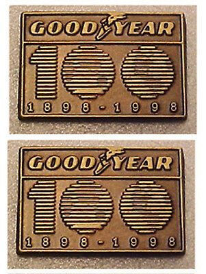 (2) Goodyear lapel pins: special 1898-1998 100th Anniversary recognition
