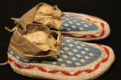 Vintage Sioux Fully Beaded Moccasins Late 1800s Early 1900's Adult Size