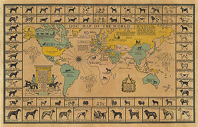 1933 Pictorial Dog Map of the World American Kennel Club Poster Print Wall Decor