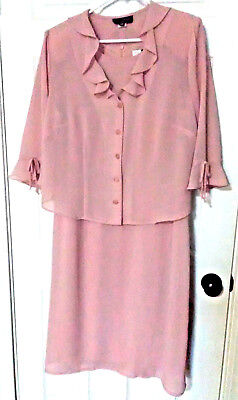 Lady Dorby Formal Wear Mauve Crepe Mother Of Bride/groom Dress Sz 16W Free Ship!