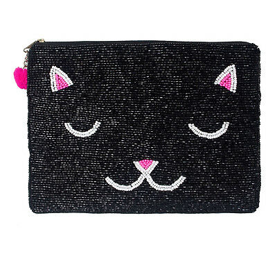 Large Cat Purse - Black Beaded Zip closure Multi purpose Approx 16 x 20 cm