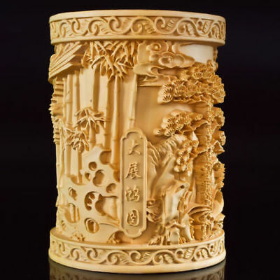 Chinese Boxwood Hand Carved Eagle & Tree Exquisite Brush Pot