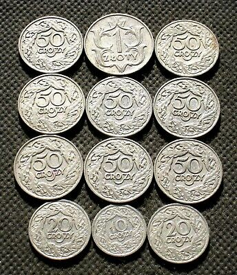 Lot Of Twelve Old Coins Of Poland (Second Republic) -  Mix 1530