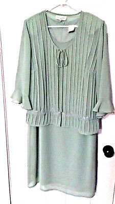 Lady Dorby Formal Wear Green Crepe Mother Of Bride/groom Dress Sz 16W Free Ship!