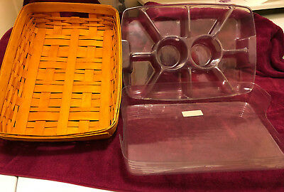 Longaberger Large Hostess Serving Tray #10103 With Two Protectors (Never Used)