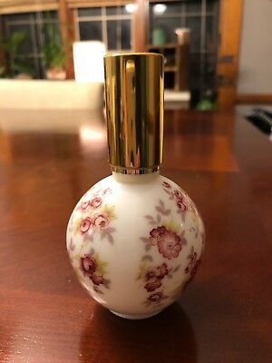 Vtg West Germany Milk Glass Painted Floral Perfume Bottle Refillable
