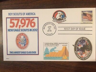 BSA  100 yrs EAGLE SCOUT   2012 LARGEST CLASS EVER   GRAPH 50's    FDC- DWc