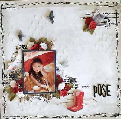 """Handmade Pre-made Mixed Media 12"""" x 12"""" Scrapbook Page Layout - Pose"""