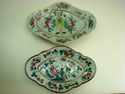 Two 19Th Century Qing Dynasty Chinese Famille Rose Porcelain Footed Plates