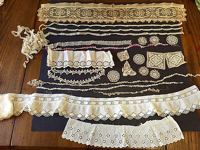 MIXED Lot~Antique LACES~MOST VICTORIAN~HIstorical~Restore~Costume~Dolls~Cutter