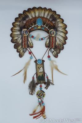 Native American Turquoise Aztec Feather Head Band Wall Plague Rustic Decration