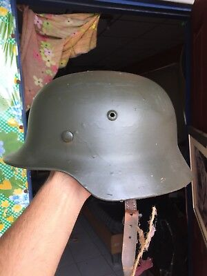 Amazing Beautiful WW 2 German Helmet Marked ET 68 and Numbered - Overpainted
