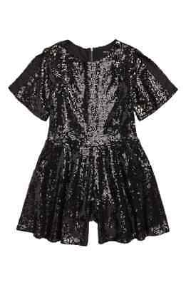 Miss Behave NEW Black Girl's USA Size 12 Sequin Short Sleeve Romper $94- #240