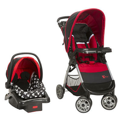 Disney Mickey Mouse Stroller And Car Seat Travel System With Cup Holder New