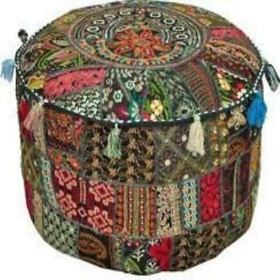 "❤ Rajasthali"" Bohemian Patch Work Ottoman Cover Traditional Vintage Indian Pouf"