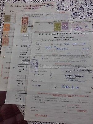 1960s SHARE CERTIFICATES X 3 WITH VICTORIA STAMPS DUTY 8 STAMPS