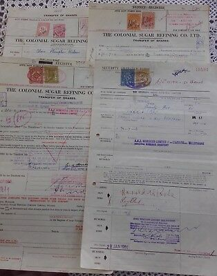 1960s SHARE CERTIFICATES X 4 WITH VICTORIA STAMPS DUTY 8 STAMPS
