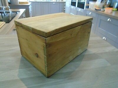 """12"""" Vintage Solid Pine Chest Toy Storage Recipe Box Small Craft Hobby Trunk"""