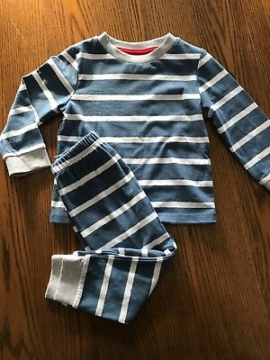 The Little White Company Boys Blue Striped  Pyjamas Age 12-18months