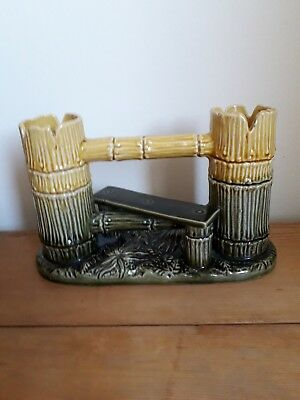 Watcombe Torquay Rare Majolica  Double Spill holder, in form of Stile, Victorian
