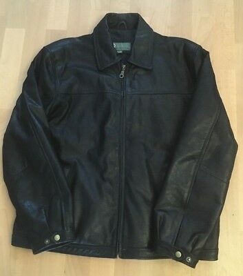 Men's HIDEPARK Black Genuine Leather Jacket Size 2XL (RRP £150)