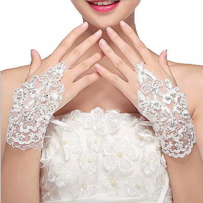 Women Lace Beaded Fingerless Bridal Wedding Party Evening Short Wrist Gloves Hot