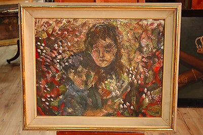 Painting oil on canvas impressionist work frame signed dated antique style 900