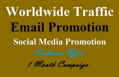 We will give traffic from social media email promotion your message/link to 5.1m