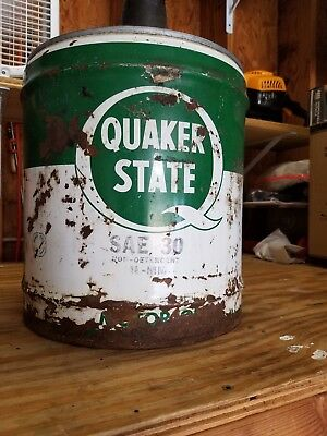 Antique Vintage Quaker State Motor Oil 5 Gallon Oil Can Advertising