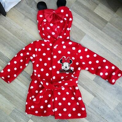 Baby Girls Disney Minnie Mouse Dressing Gown Aged 12-18 Months