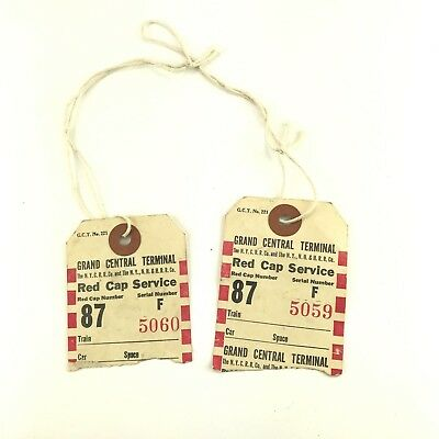 Vintage Grand Central Terminal Red Cap Service 1950s luggage tags set of two