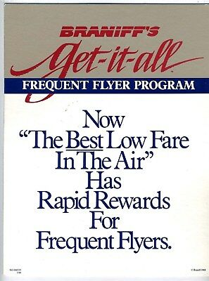 Braniff's Get-it-all Frequent Flyer Program Counter Top Sign 1988