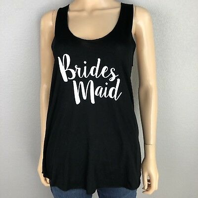 Mud Pie Women's Bridesmaid Tank Black White Racerback One Size Bridal Wear