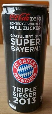 Rare coca cola can from germany with plastic wrap. FC Bayern München triple