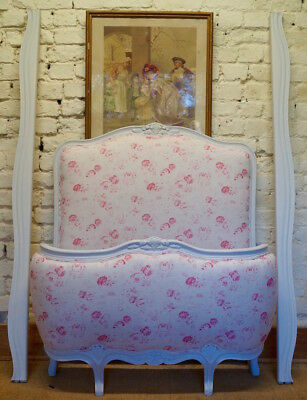 Vintage French Single Demi Corbeille Bed in PEONY & SAGE 'Charlotte' Fabric
