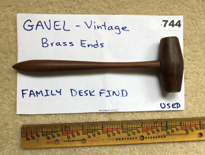 GAVEL of OAK WOOD and BRASS tipped heads-VINTAGE-Dated '52-'60  Family Find(744)