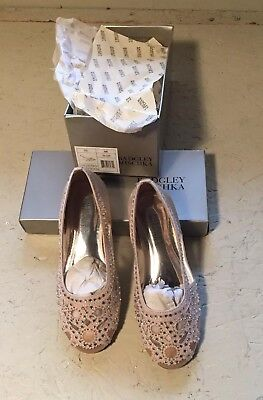 BADGLEY MISCHKA Girls Gigi Gems Slip On Ballet Flats, Light Gold, Size 12 kids,