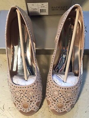 BADGLEY MISCHKA Girls Gigi Gems Slip On Ballet Flats, Light Gold, Size 4 kids,
