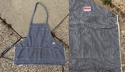 Vtg 1940s Setlow Union Made Railroad Stripe Selvedge Apron Donut Hole Button