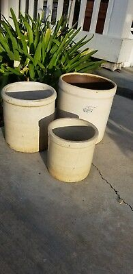 Lot of 3 Vintage 1Blue Crown USA Crock Stoneware Brown Inside plus 2 smaller