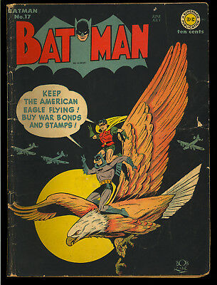 Batman #17 Classic WWII War Cover Original Owner Golden Age DC Comic 1943 GD-VG