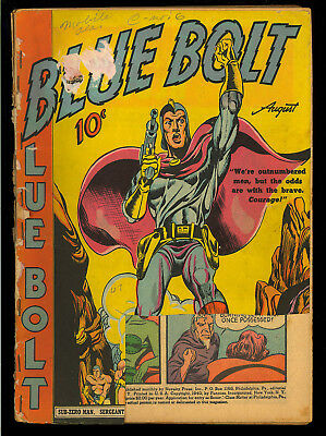 Blue Bolt #3 Classic 2nd Simon & Kirby Art Simon Cover Funnies Inc Comic 1940 FR