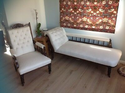 edwardian chaise longue and matching armchair