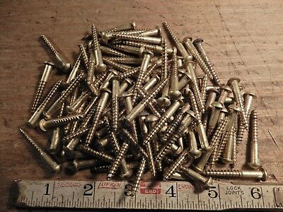 "wood screws brass 1 1/2"" x  #10 QTY. 103 lot vintage round head slotted fastener"
