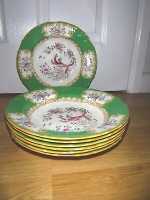 "6 ANTIQUE MINTON LARGE RIMMED SOUP BOWLS GREEN COCKATRICE C1920's ~ 10"" DIAMETER"