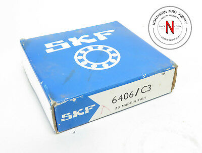 SKF 6406/C3 DEEP GROOVE BALL BEARING, 30mm x 90mm x 23mm, FIT C3, OPEN SEAL