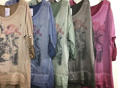 Ladies Italian Floral Top Sequin Tunic Lagenlook Quirky Dress Blouse Stonewashed